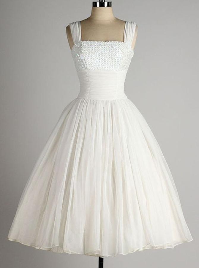 Vintage Square Sleeveless Mid-Calf Chiffon White Homecoming Dress Ruched фото