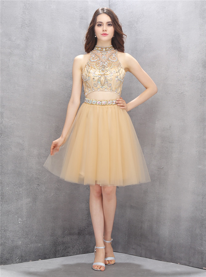 Special Two Piece High Neck Knee-Length Champagne Homecoming Dress with Beading
