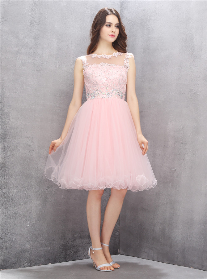 Nectarean Jewel Sleeveless Knee-Length Pink Homecoming Dress with Appliques Beading фото