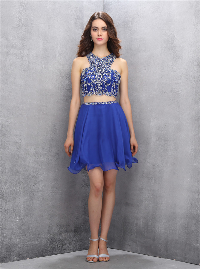 Popular Two Piece Jewel Sleeveless Short Sky Blue Homecoming Dress with Beading Open Back фото