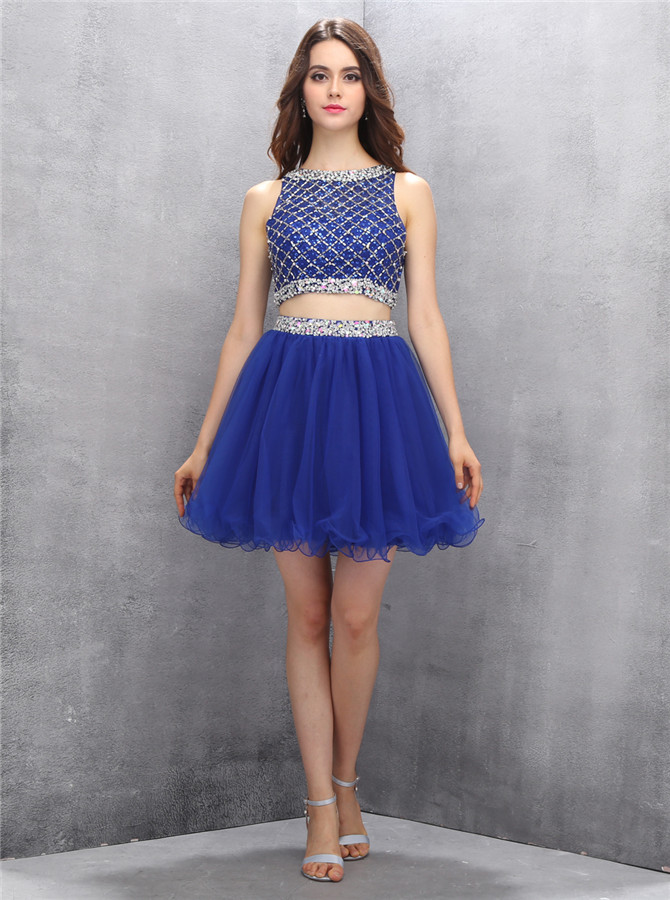 Hot Selling Bateau Two Piece Short Royal Blue Homecoming Dress with Beading фото