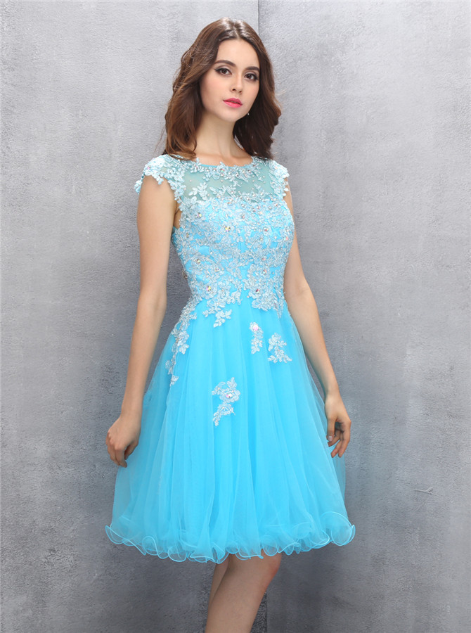 Generous Bateau Cap Sleeves Short Emeraid Homecoming Dress with Appliques Beading