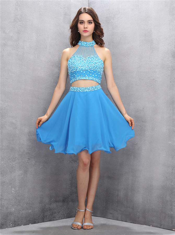 Fashion High Neck Two Piece Key Hole Back Sky Blue Homecoming Dress with Beading
