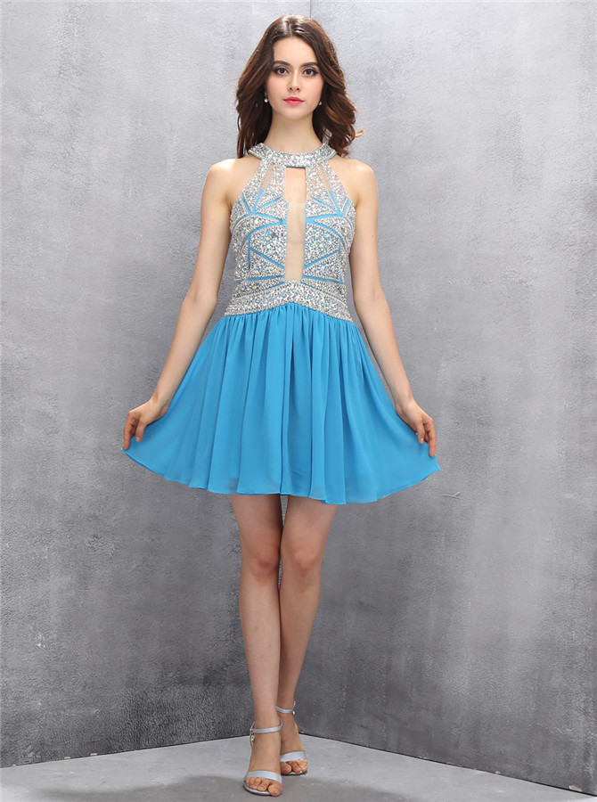 Special Jewel Key Hole Blue Mini Homecoming Dress with Beading Illusion Back