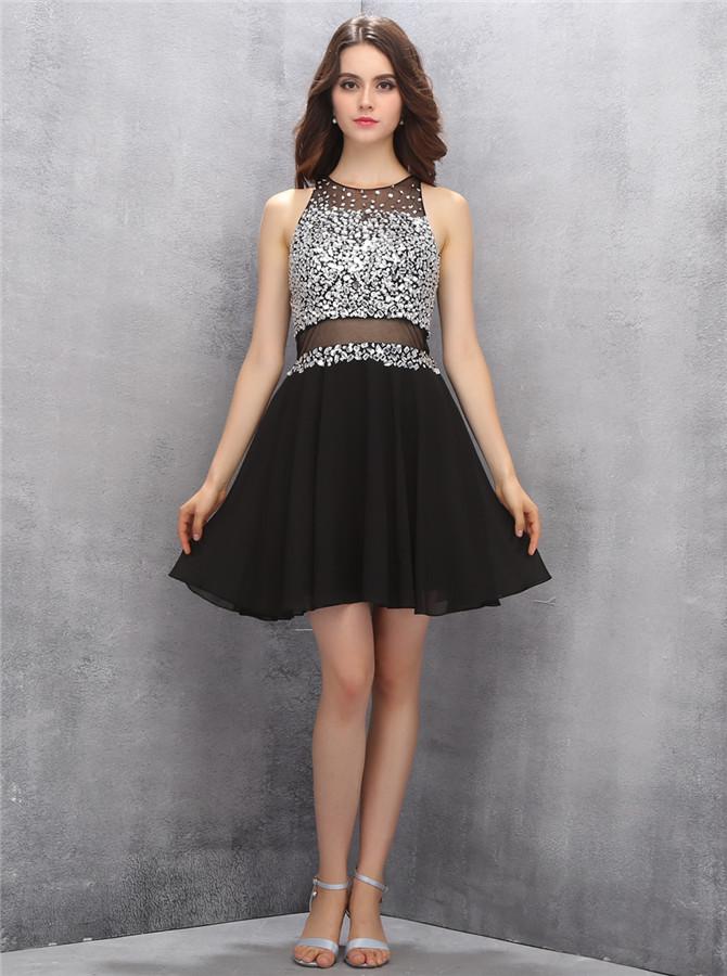 New Arrival Jewel Sleeveless Short Black Homecoming Dress with Beading Illusion Back фото