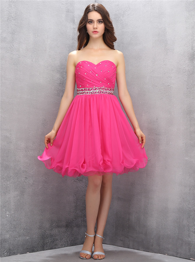 Nectarean Sweetheart Sleeveless Short Rose Pink Homecoming Dress with Beading Waist фото