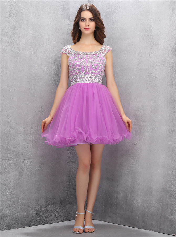 Glamorous Bateau Cap Sleeves Lilac Short Homecoming Dress with Beading фото