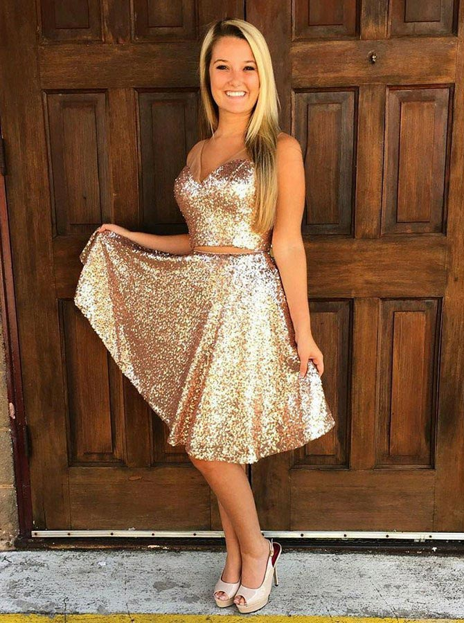 Two Piece V-Neck Knee-Length Gold Sequined Homecoming Dress фото