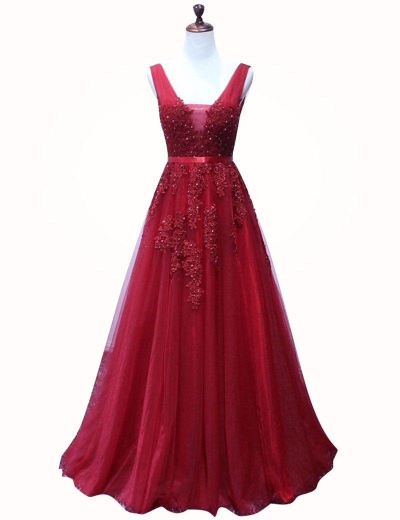 A-Line V-Neck Sweep Train Dark Red Tulle Prom Dress with Appliques Beading