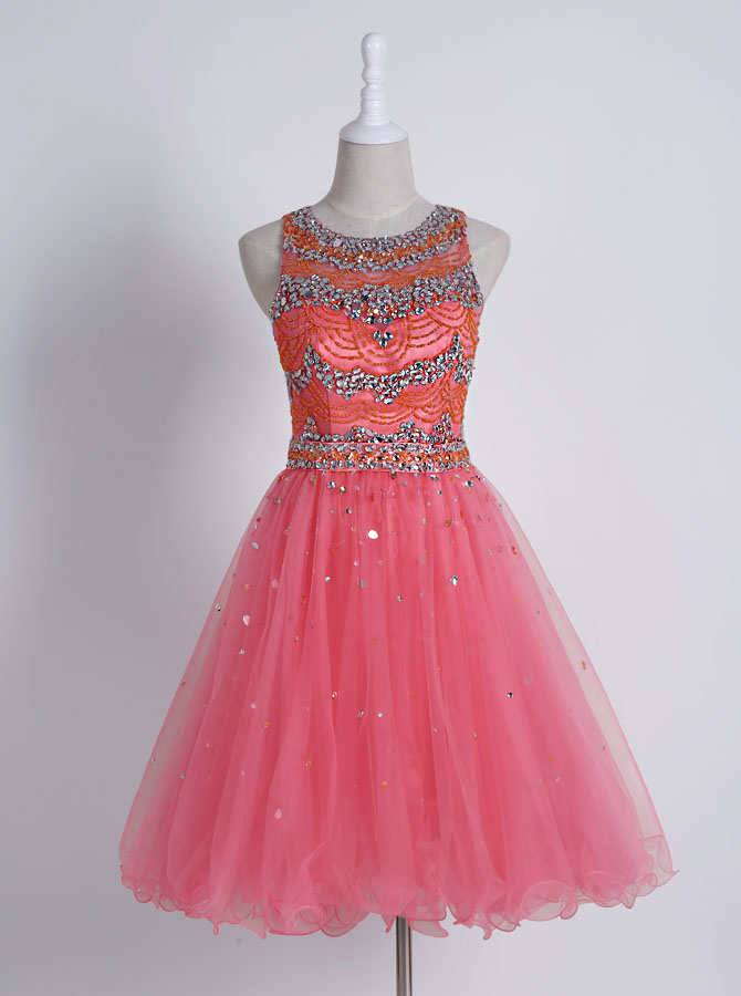 Stunning Jewel Sleeveless Short Watermelon Homecoming Dress with Beading фото