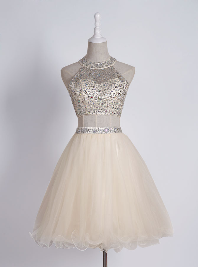 Sexy Two Piece Sleeveless Short Light Champagne Homecoming Dress with Beading фото