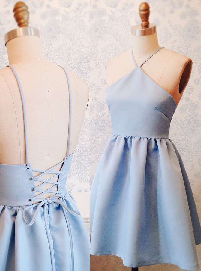Simple-dress / A-Line Halter Above-Knee Lace-Up Blue Stretch Satin Homecoming Dress