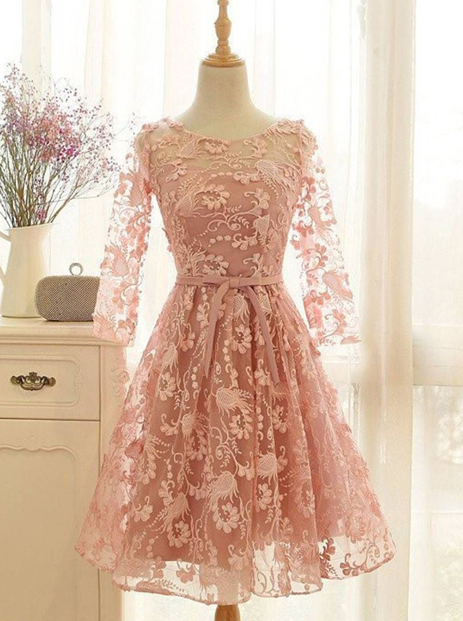 A-Line Crew Knee-Length 3/4 Sleeves Open Back Lace-Up Pink Lace Homecoming Dress фото