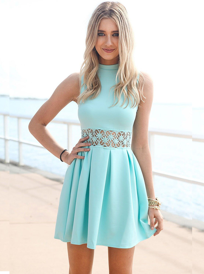 A-Line High Neck Mint Green Polyester Homecoming Dress with Lace фото