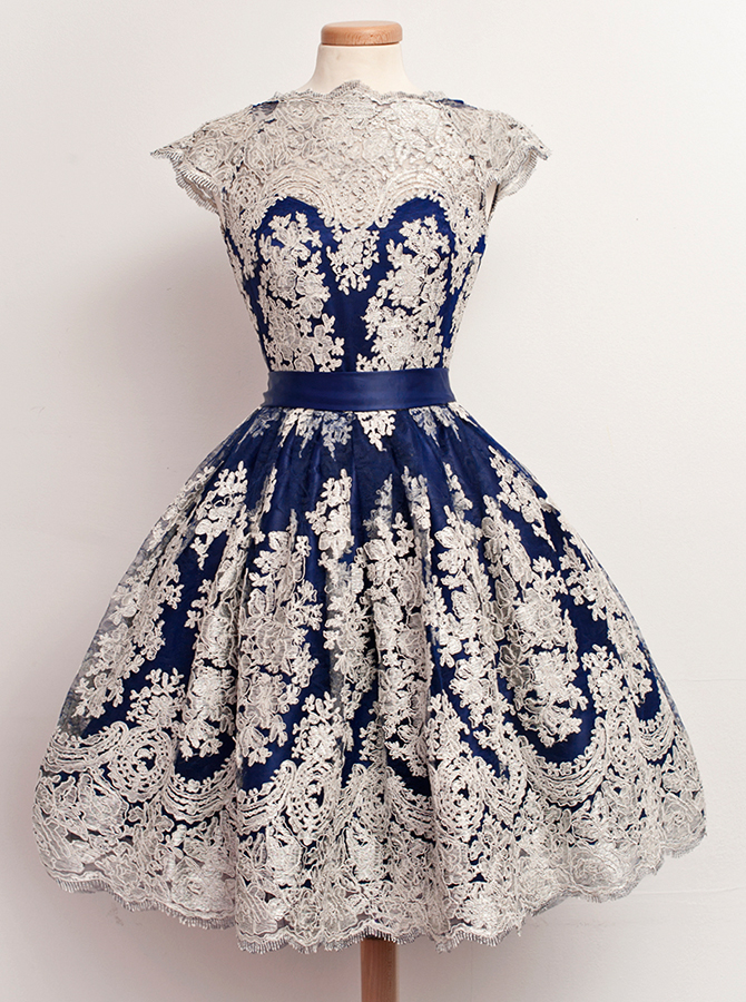 A-Line Jewel Knee-Length Cap Sleeves Navy Blue Stretch Satin Homecoming Dress with Appliques