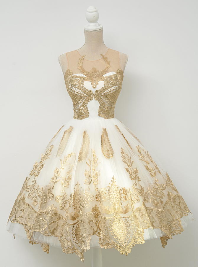 A-Line Crew Knee-Length Ivory Tulle Homecoming Dress with Gold Appliques фото