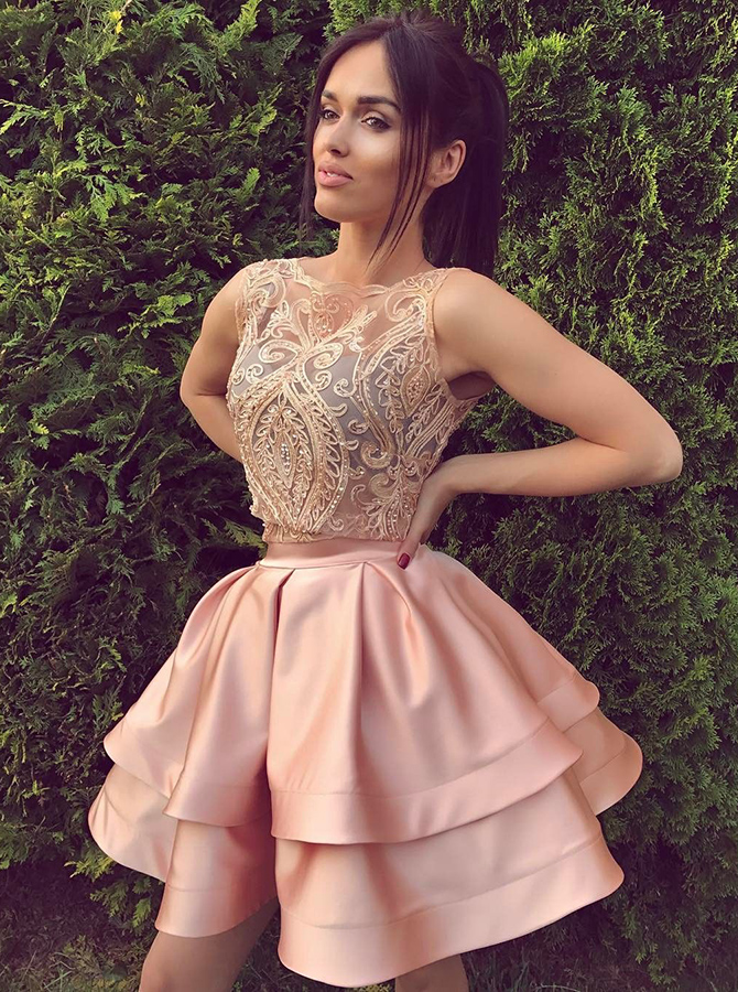 A-Line Crew Above-Knee Sleeveless Pink Satin Homecoming Dress with Appliques фото