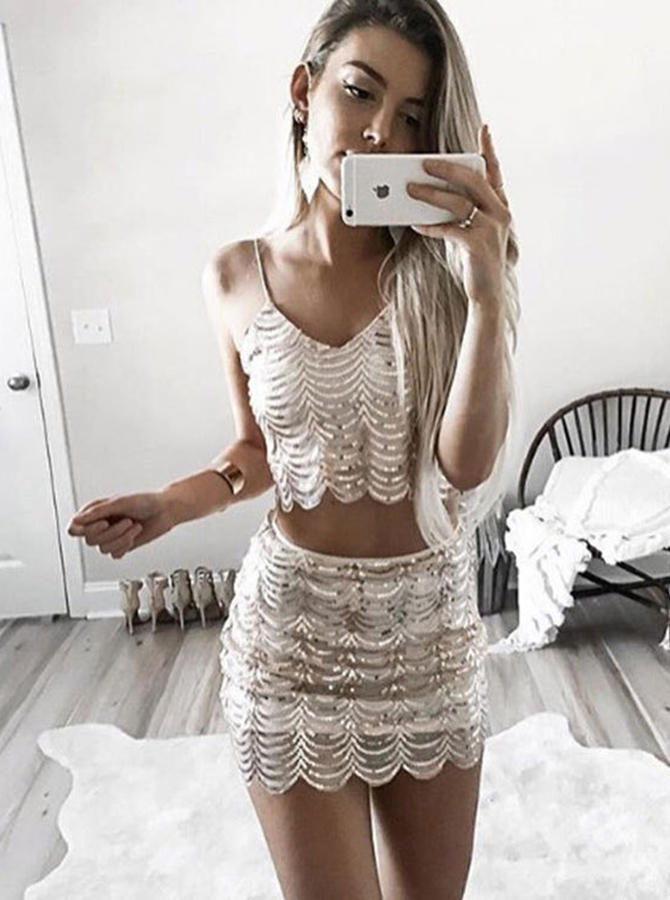 Simple-dress / Two Piece Spaghetti Straps Short Champagne Sequined Homecoming Dress