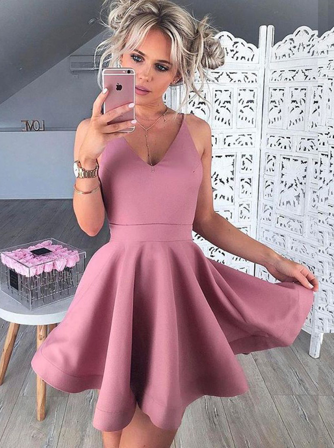 Simple-dress / A-Line V-Neck Sleeveless Short Blush Satin Homecoming Dress