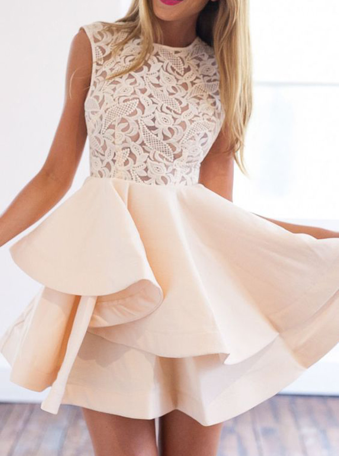 A-Line Crew Short Sleeveless Champagne Homecoming Dress with Lace фото