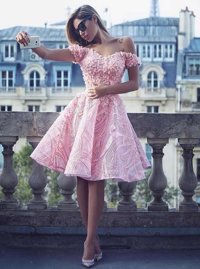 A-Line Off-the-Shoulder Knee-Length Pink Lace Homecoming Dress with Appliques