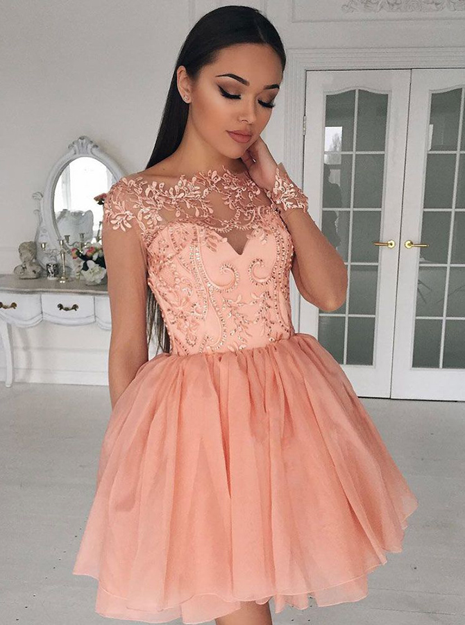 A-Line Crew Cap Sleeves Short Coral Chiffon Homecoming Dress with Appliques фото