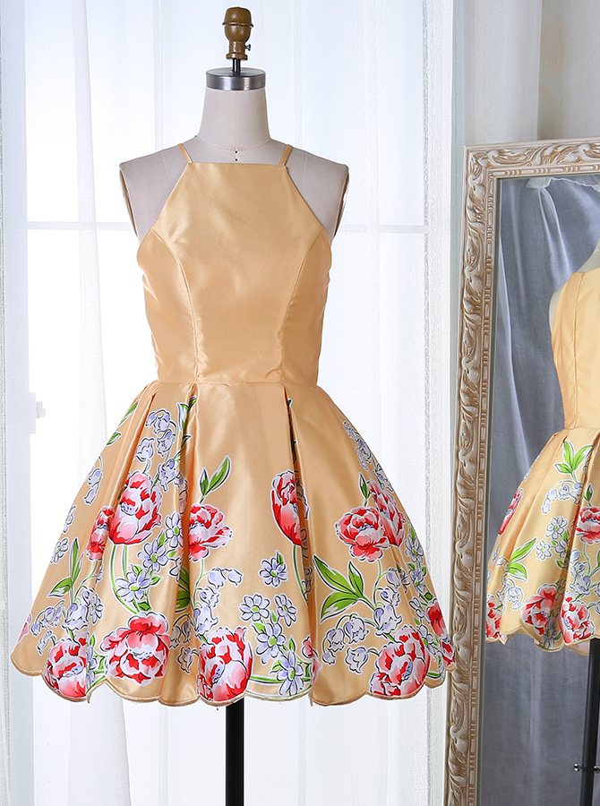 A-Line Square Neck Short Gold Satin Homecoming Dress with Print фото