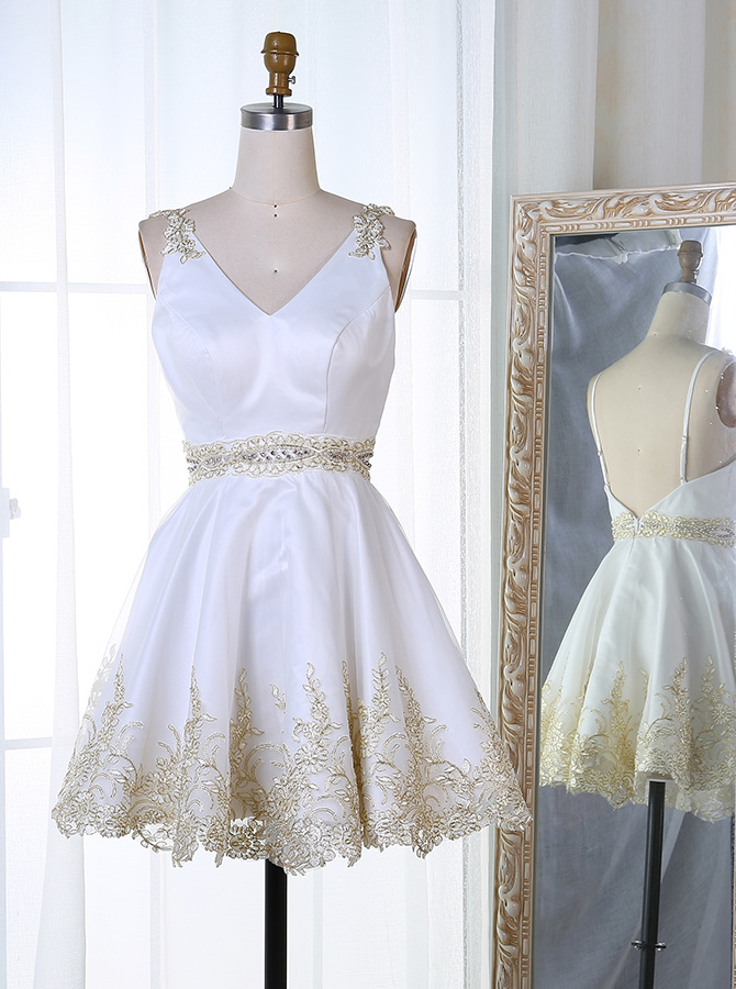 A-Line V-Neck Short White Satin Homecoming Dress with Appliques