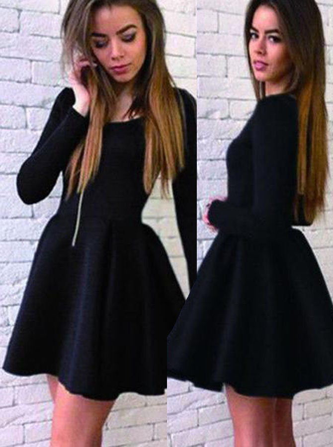 A-Line Scoop Long Sleeves Short Black Satin Homecoming Dress фото