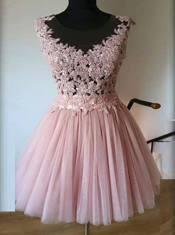 Simple-dress / A-Line Bateau Short Pink Tulle Homecoming Dress with Appliques