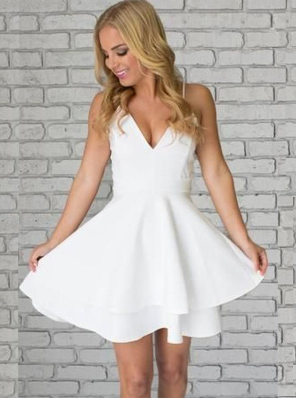 Simple-dress / A-Line Spaghetti Straps Short Tiered White Satin Homecoming Dress with Lace