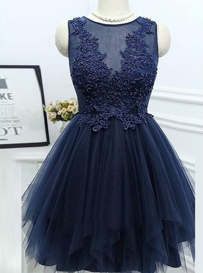 A-Line Jewel Asymmetrical Navy Blue Homecoming Dress with Appliques Beading