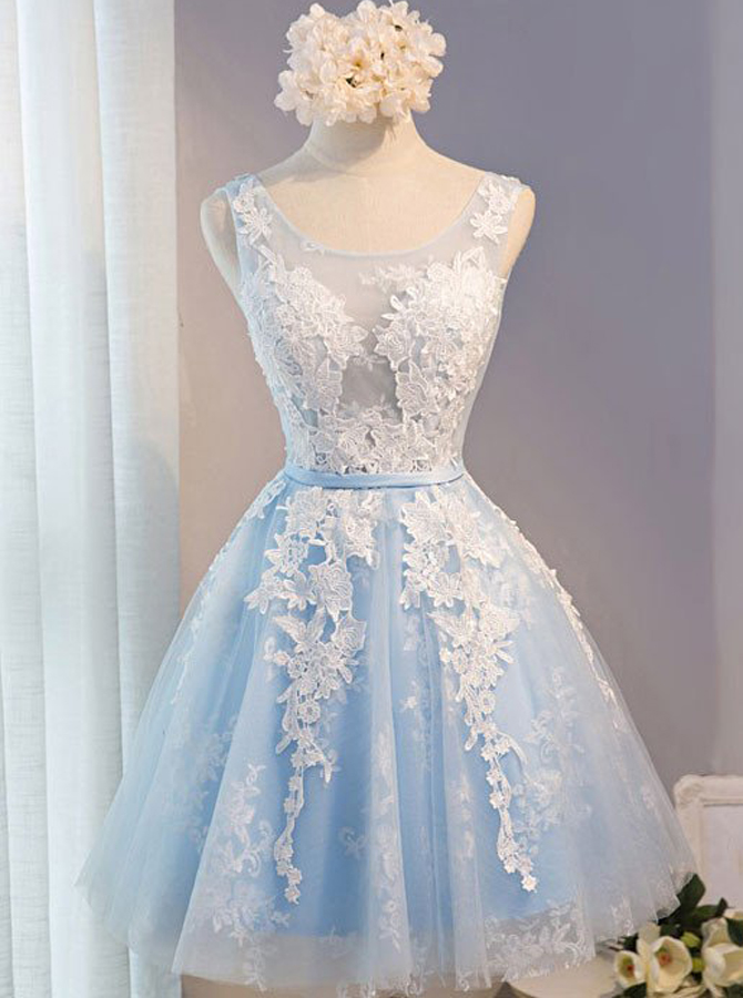 A-Line Scoop Short Light Blue Tulle Homecoming Dress with Appliques фото