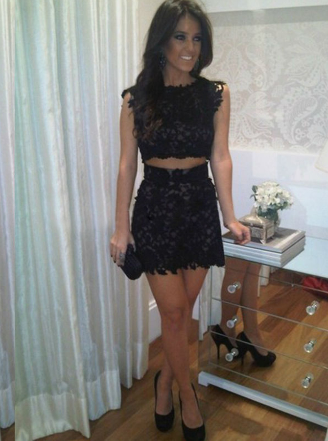 Two Piece Bodycon Short Lace Homecoming Dress фото