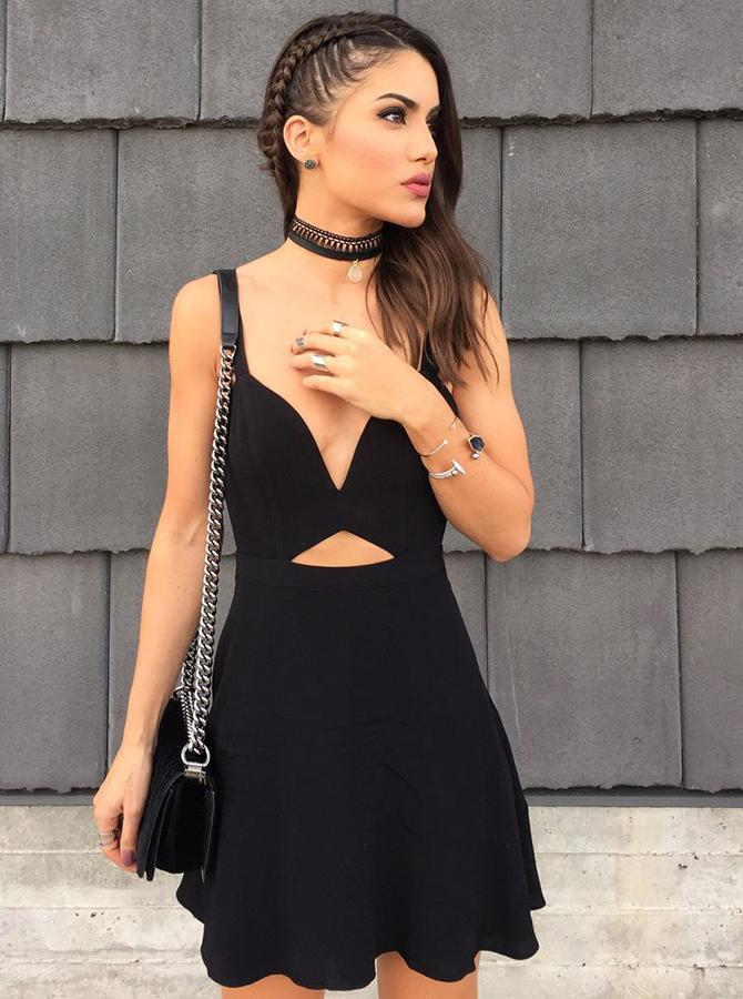 A-Line V-Neck Satin Cut Out Little Black Dress фото