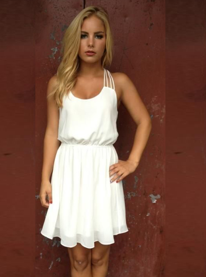 A-Line Scoop Short Chiffon Homecoming Dress фото