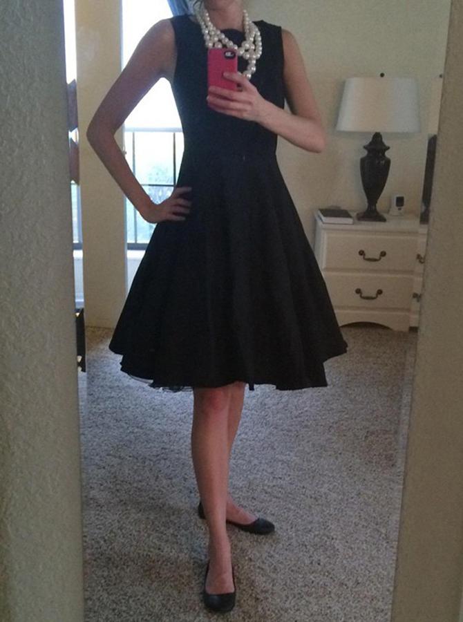 A-Line Jewel Polyester Little Black Dress фото