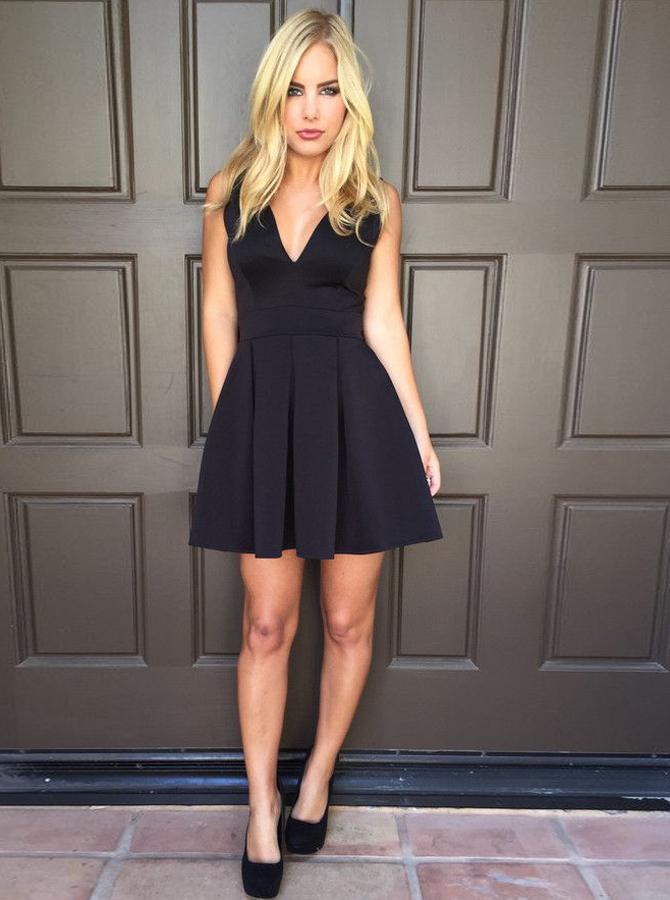 A-Line V-Neck Pleated Satin Backless Little Black Dress фото