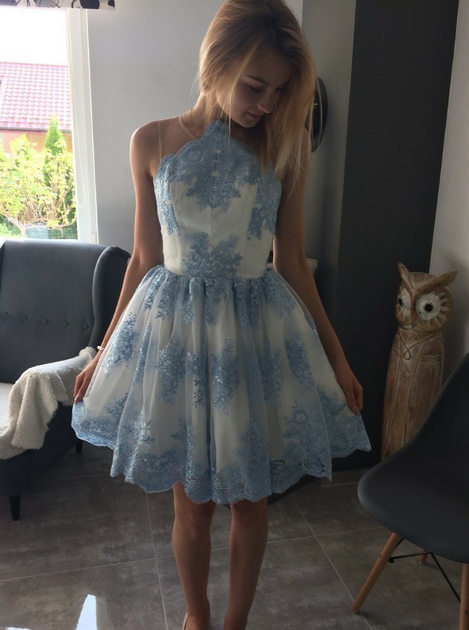 A-Line Jewel Blue Short Tulle Homecoming Dress with Appliques