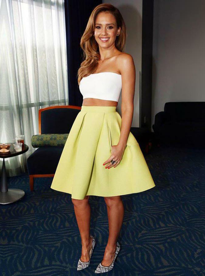 Two Piece Strapless Short Daffodil Satin Homecoming Dress with Pockets фото