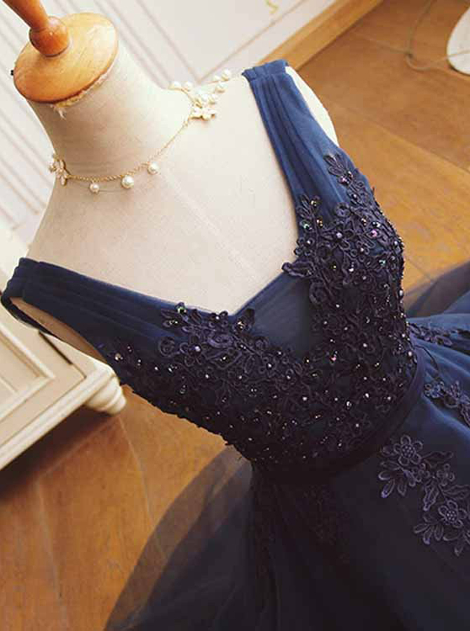 A-Line V-Neck Short Dark Blue Tulle Homecoming Dress with Beading Appliques фото