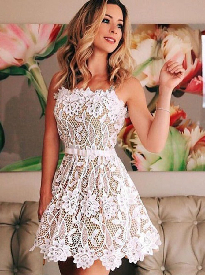 A-Line Straps Short White Lace Homecoming Dress with Beading фото