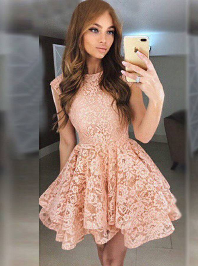 Simple-dress / A-Line Round Neck Short Pearl Pink Tiered Lace Homecoming Dress