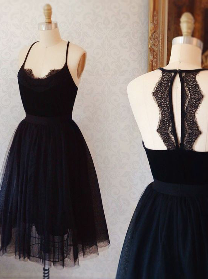 Simple-dress / A-Line Spaghetti Straps Keyhole Back Black Tulle Homecoming Dress with Lace