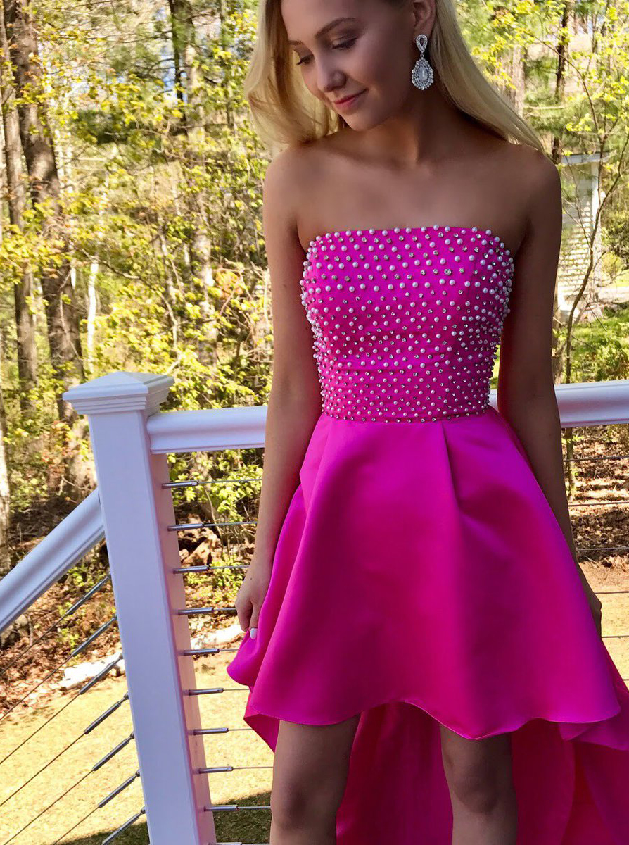 High Low Strapless Fuchsia Satin Homecoming Dress with Beading фото