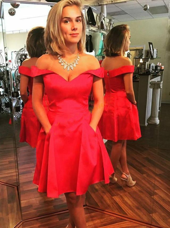 A-Line Off-the-Shoulder Short Red Satin Homecoming Dress with Pockets