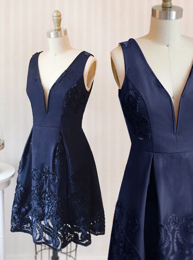 A-Line Deep V-Neck Short Navy Blue Satin Homecoming Dress with Appliques