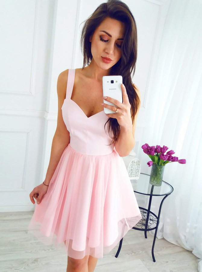 Simple-dress / A-Line Scoop Sleeveless Short Pink Tulle Homecoming Dress