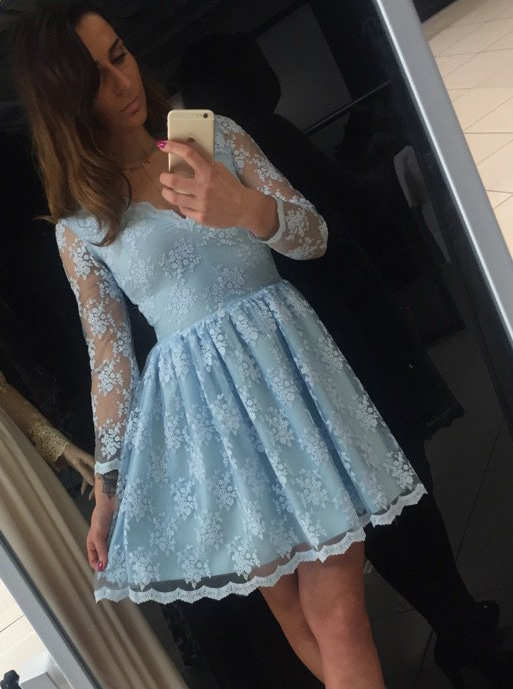 A-Line V-Neck 3/4 Sleeves Short Blue Lace Homecoming Dress фото