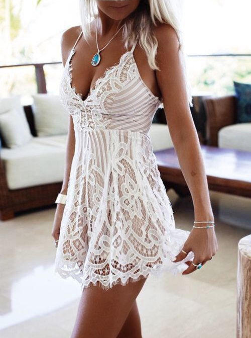 Simple-dress / A-Line Spaghetti Straps Short Ivory Lace Homecoming Party Dress
